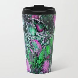 Psycho - Jellyfish Flow in the Neon Green Glow of the Deep Black Sea by annmariescreations Travel Mug