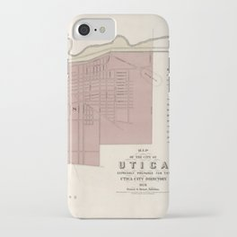 old vintage antique aerial street map of the city of utica, ny [new york] iPhone Case