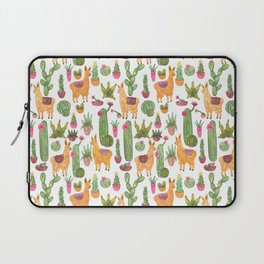 watercolor alpaca clique with cacti and succulents Laptop Sleeve