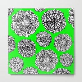 green mandala maze  Metal Print