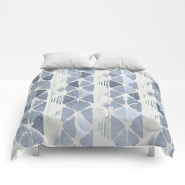 Simply Braided Chevron Indigo Blue on Lunar Gray Comforters