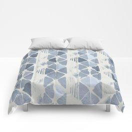 Simply Braided Chevron Indigo Blue on Lunar Gray Comforters