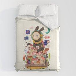 Space rabbit Duvet Cover