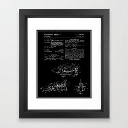 Space Shuttle Patent - Black Framed Art Print