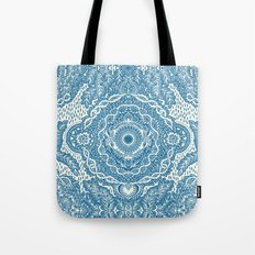 Rain in the Garden - blue and cream Tote Bag