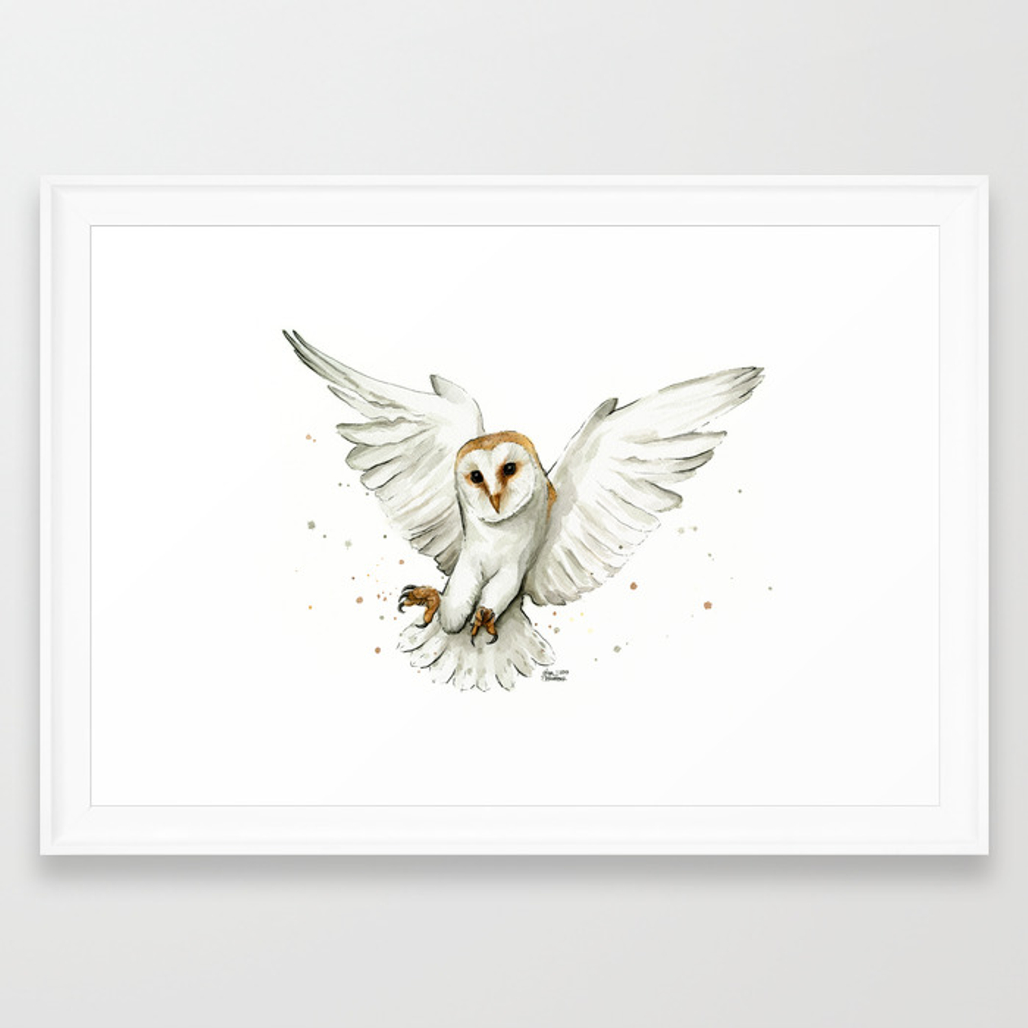 Barn Owl Flying Watercolor Wildlife Animals Framed Art Print By Olechka Society6