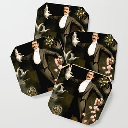 Vintage Rabbit Doves and Magician Coaster