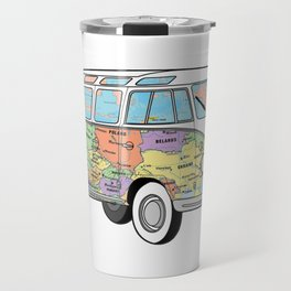 the travelling combi - vanlife map Travel Mug