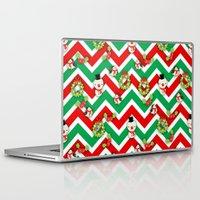 cartoons Laptop & iPad Skins featuring Festive Christmas Cartoons on Chevron Pattern by Kirsten Star