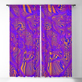 blue purple orange face Blackout Curtain