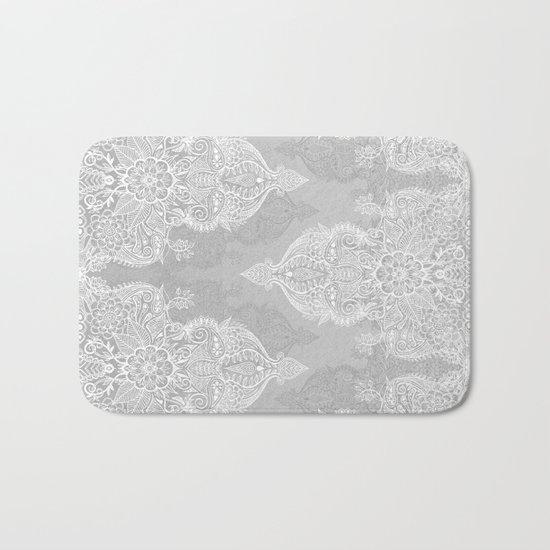 Lace & Shadows 2 - Monochrome Moroccan doodle Bath Mat
