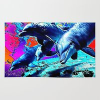 dolphins Area & Throw Rugs featuring Dolphins 3 by JT Digital Art