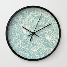 Detailed rectangle, light blue  Wall Clock