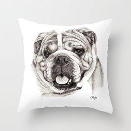 English Bulldog drawing Throw Pillow