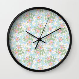Pink Dogroses on Sky Blue Wall Clock