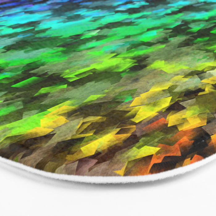 Starrider -- Abstract cubist color expansion Bath Mat