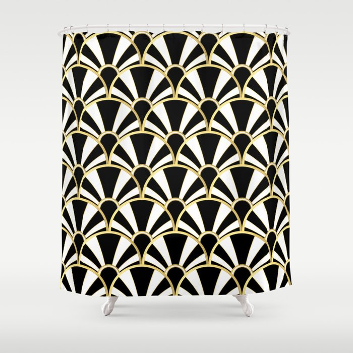 Black, White and Gold Classic Art Deco Fan Pattern Shower Curtain
