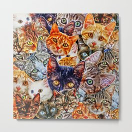 Kitty Cat Collage Metal Print