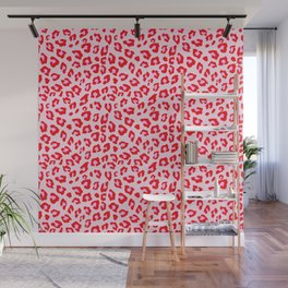 Leopard Print - Red And Pink Wall Mural