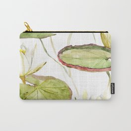 Watercolor Painting of White Lily Flowers and Large Lily Pads Carry-All Pouch