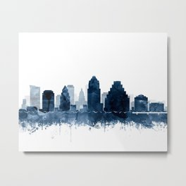 Austin Skyline Blue Watercolor by Zouzounio Art Metal Print
