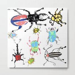 Pen and Ink Sketches of Beetles by Lorloves Design Metal Print