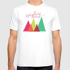 Explore Mountains Mens Fitted Tee White MEDIUM