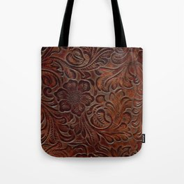 Burnished Rich Brown Tooled Leather Tote Bag