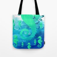 seahorse Tote Bags featuring Seahorse by Sara Eshak