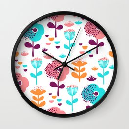 Colorful Floral Design by Mak Mak Wall Clock