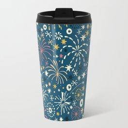 There are fireworks everywhere (blue) Travel Mug