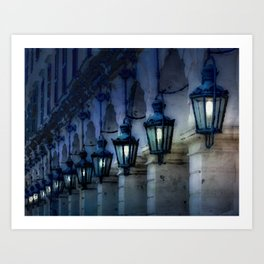 Arches and Lamps in Greece Night Art Print