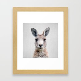 Kangaroo - Colorful Framed Art Print