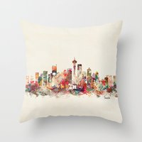 washington Throw Pillows featuring seattle washington by bri.buckley