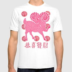 ~ Happy Chinese New Year ~ Year Of The Sheep ~ MEDIUM White Mens Fitted Tee