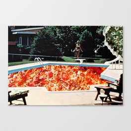 Pizza Pool Party Collage Canvas Print