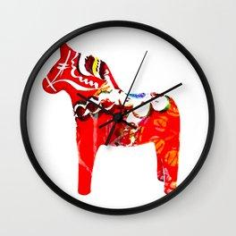 Swedish Dala Horses Wall Clock