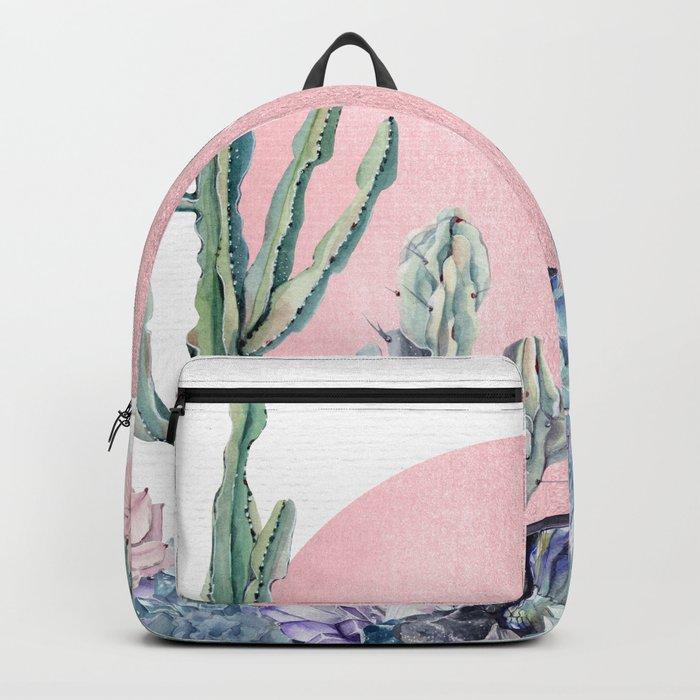 Desert Sun + Gemstones Rose Gold White Backpack