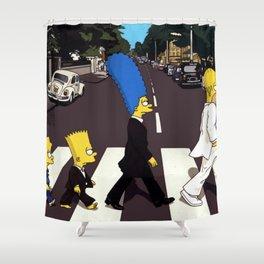 Crossing Abbey Road cartoon animation Shower Curtain