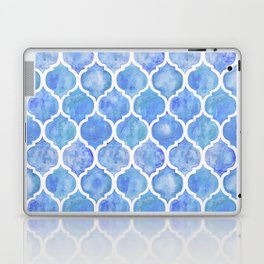 Cornflower Blue Moroccan Hand Painted Watercolor Pattern Laptop & iPad Skin