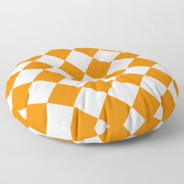Large Diamonds - White and Orange Floor Pillow