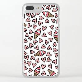 Cute Pink Hearts and Ice Cream Cones Illustrations Clear iPhone Case