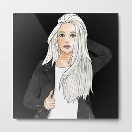 Black and White Chic Girl Metal Print
