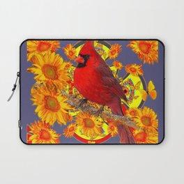 GOLDEN SUNFLOWERS RED CARDINAL GREY ART Laptop Sleeve