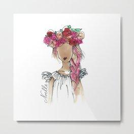 Flower Crowned Metal Print