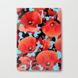 Poppie Camouflage Red Blue -Living Hell Metal Print