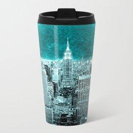 New New York Another World Aqua Teal Travel Mug