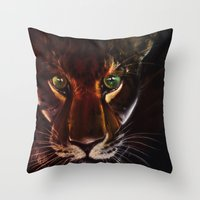 jaguar Throw Pillows featuring Jaguar by mejony