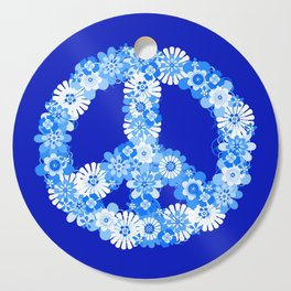 Peace Sign Floral Blue Cutting Board
