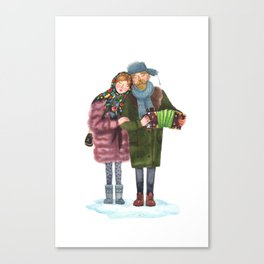 Russian funky couple Canvas Print